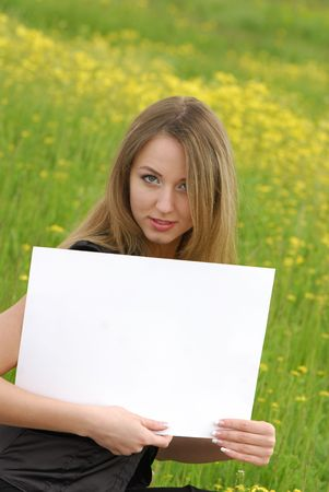 young business woman holding an empty white card Stock Photo - 3104640