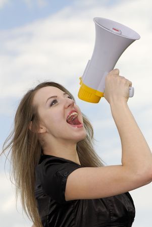 young businesswoman shouts in  megaphone Stock Photo - 3104644
