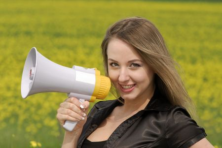 young businesswoman shouts in  megaphone Stock Photo - 3104646