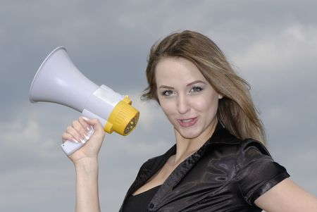 young businesswoman shouts in  megaphone Stock Photo - 3104647