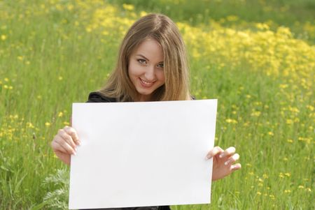 young business woman holding an empty white card Stock Photo - 3171509