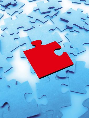 Jigsaw puzzle pieces on blue background Stock Photo - 3814647
