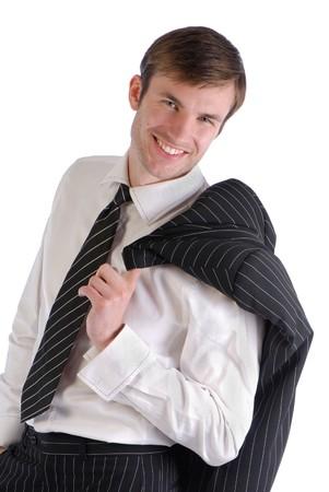 白い背景で隔離の肩に黒い色のジャケットから魅力的な若いビジネスマン 写真素材