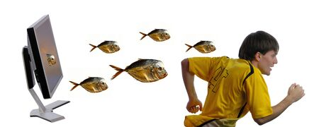 programmer escaping from fishes which leave  computer isolated on  white background Stock Photo - 4248199