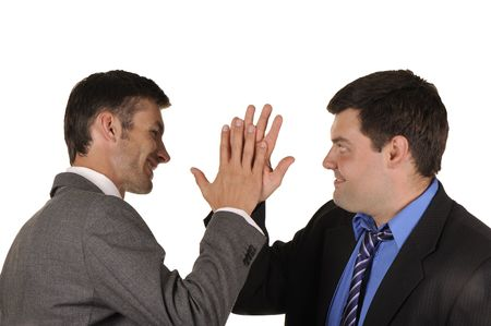 Two businessmen find out emotionally attitudes isolated on  white background photo