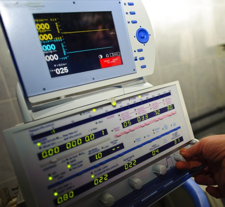 a medical equipment on blood transfusion is checked up before the use Stock Photo
