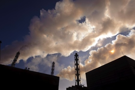 extra of exhaust gases after  of the enriched ore in an atmosphere photo