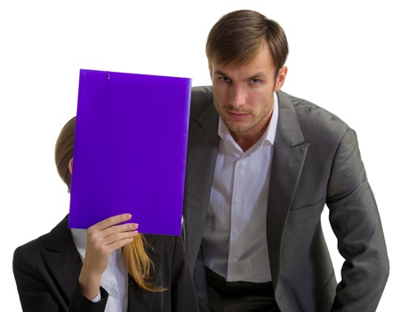 nice businessman in a klassochesky suit speaks with the woman the businessman the folder which has covered the person photo