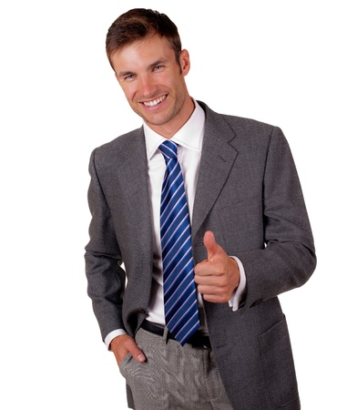 nice businessman shows a hand gesture everything well, isolated on a white background Stock Photo - 18913198