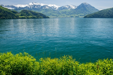 fresh-water lake surrounded with mountains in a sunny day, Switzerland photo