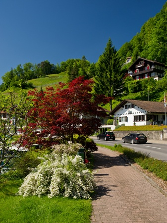 general view of the village and road and landscape, sunny day, Switzerland photo