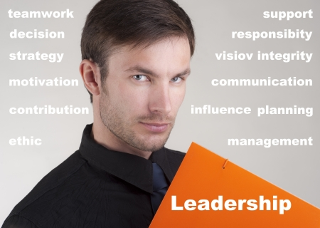 the nice businessman and words about leadership against photo