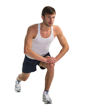 actively: male sportsman doing actively exercise isolated on white background