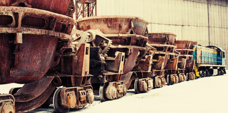 Special railway capacity for delivery of molten iron in the steel industry  Locomotive and wagons  photo