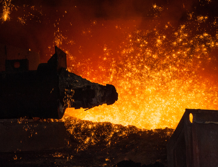 Metallurgical equipment and technology of iron production  Molten hot steel Stock Photo - 26482187