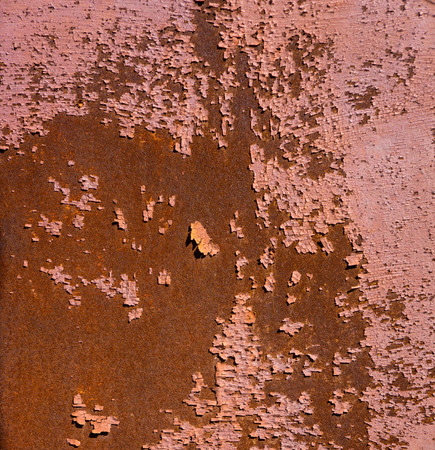 rust covered: old rusty metal sheet covered with old paint residues Stock Photo