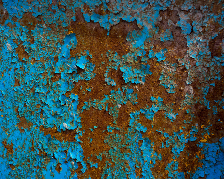 rust covered: old surface of the metal sheet covered with old paint