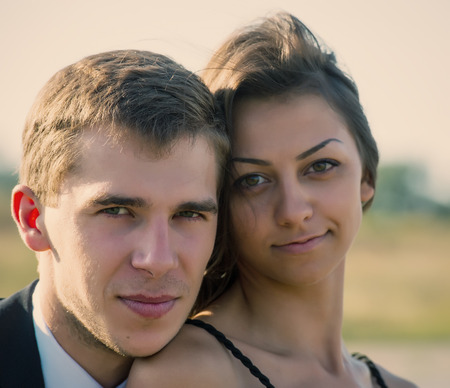 Portrait of a couple of young people, closeup photo