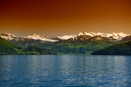 general view of Lake Lucerne, the spring season, Switzerland photo