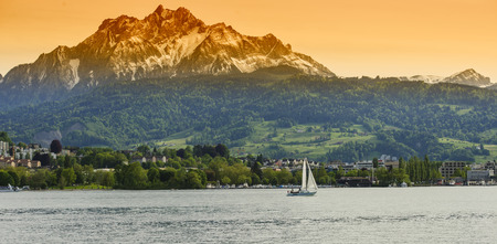 general view of the town and Lake Lucerne, Switzerland photo