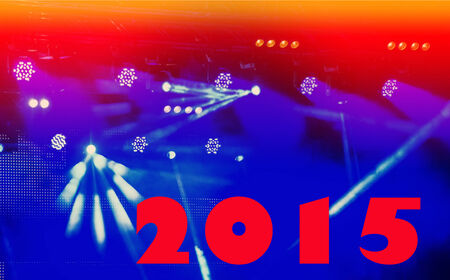 Text numbers 2015 on blue blurred background nightclub photo