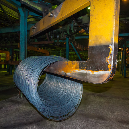 Bay wire is delivered to the warehouse of steel products photo
