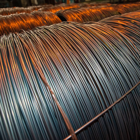 Metallurgical production, production, steel rods or bars used to reinforce concrete. photo