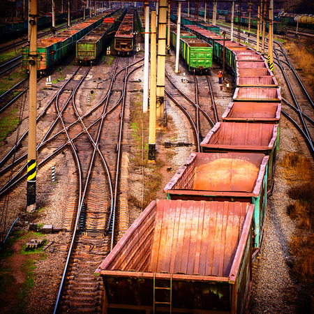 boxcar train: sorting industrial railway station wagons and compositions Stock Photo
