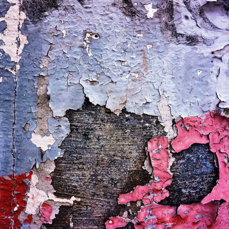 old weathered painted stucco brick wall collapses photo
