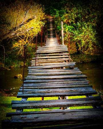 old wooden suspension bridge in the forest