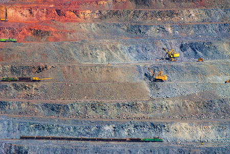 open pit: iron ore open pit mining, quarry