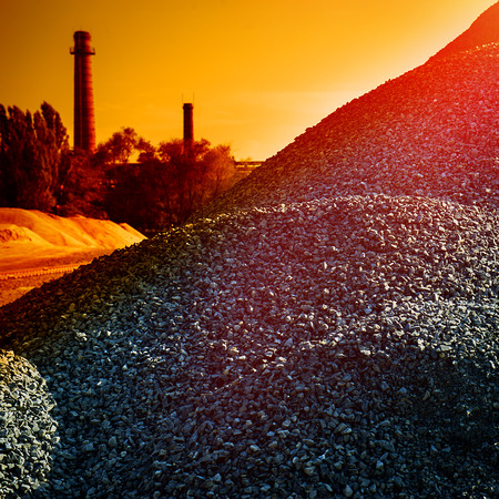 warehouse building: industrial warehouse building rubble at the cement plant Stock Photo