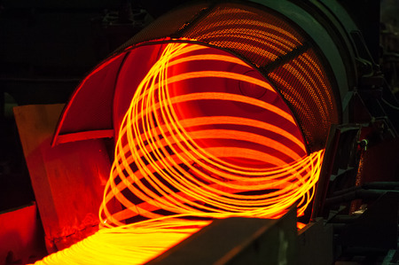 red hot iron: manufacturing wire Steel Works