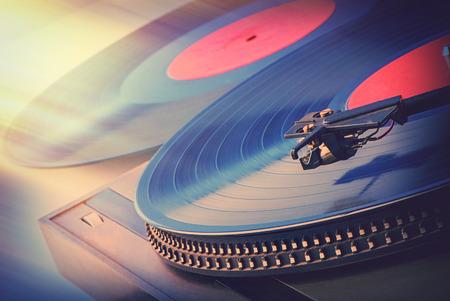 discs: old vinyl discs and player