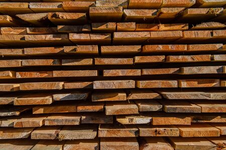 stored: Stored sawn pine boards
