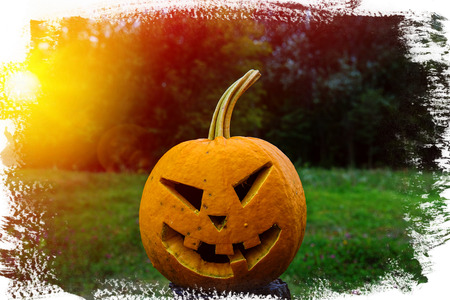 scary pumpkin for Halloween in a forest in the village Stock Photo