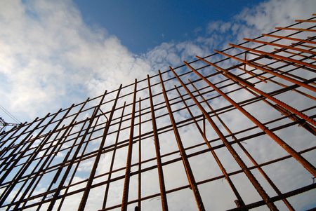 Metal rusted reinforcing bars. Reinforcing steel rods for construction