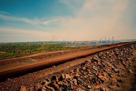 mine site: General view and industrial landscape of the mining industry Stock Photo
