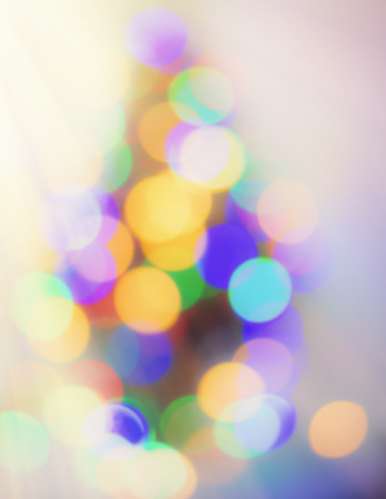 blurred background, festive lighting. Festive. Christmas. New Year. Retro style. Observation of the New Year tree. Stock Photo