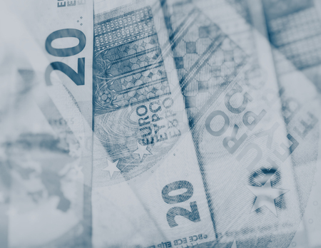 paper euro notes. Twenty euros. Blurred Background. Currency of the European Union.