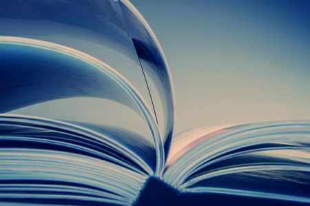 pages of an open book. Blue tonality of the image. Business and finance. Business metaphor. Stock Photo