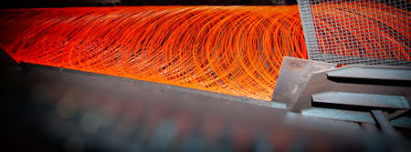 manufacturing of wire - metallurgical production. Web banner for your design.