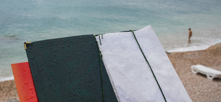 Old open menu on the background of the sea. Web banner. Element of design.