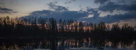 silhouettes of trees in the evening sky on the river bank. Web banner. Element of design.