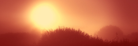 Sunrise in the morning in a hilly area, meadow landscape countryside. Autumn season. Web banner for design.