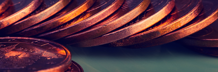 Stacks of euro and euro cent coins. The currency of the European Union. Web banner. 版權商用圖片 - 119741974