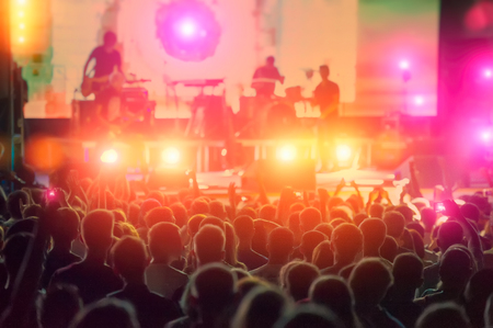 rock musicians and fans during the performance. Web banner.