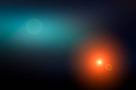 Abstract blurred background and light flash of light. Dark blue, black and purple, orange spot. Web banner. Stock Photo