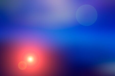 Abstract blurred background and light flash of light. Blue and orange spot. Web banner. Stock Photo