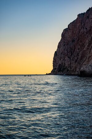 sea and rocky coast in the evening. Summer season, august. Black Sea.